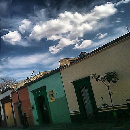 Dream clouds, empty street Mexicana #Oaxaca
