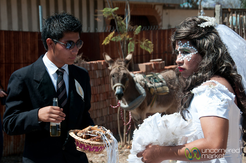 Transvestite Bride, Donkey and Beer - Carnaval in San Martin Tilcajete, Mexico