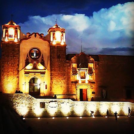 Dusk Church Clouds Football - nighttime in Oaxaca