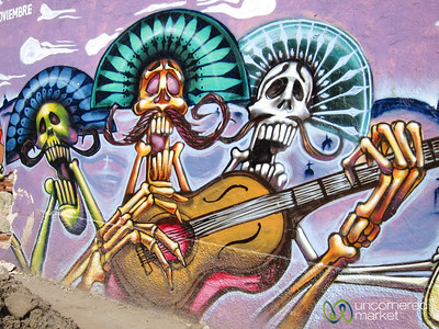 Oaxaca Street Art, Skeleton Mariachi Band - Mexico