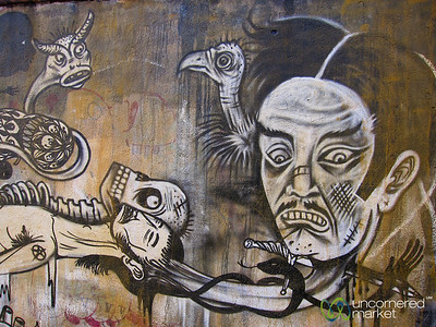 Grim and Deadly Street Art - Oaxaca, Mexico