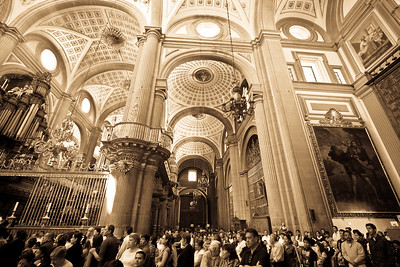 Inside the Cathedral of Puebla.