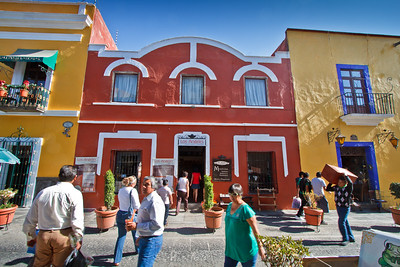 Stunning colorful street life scene in Puebla.