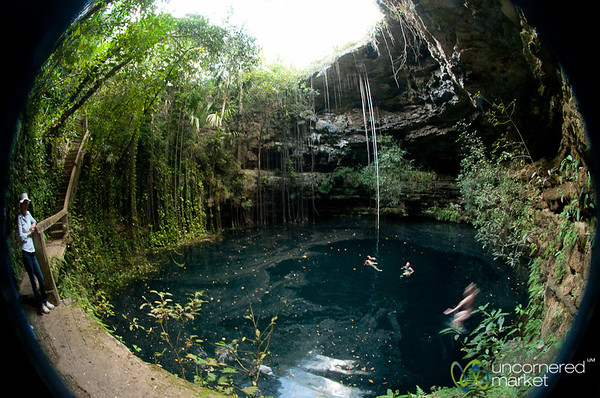 Swimming in Xochempich Cenote - Yucatan, Mexico