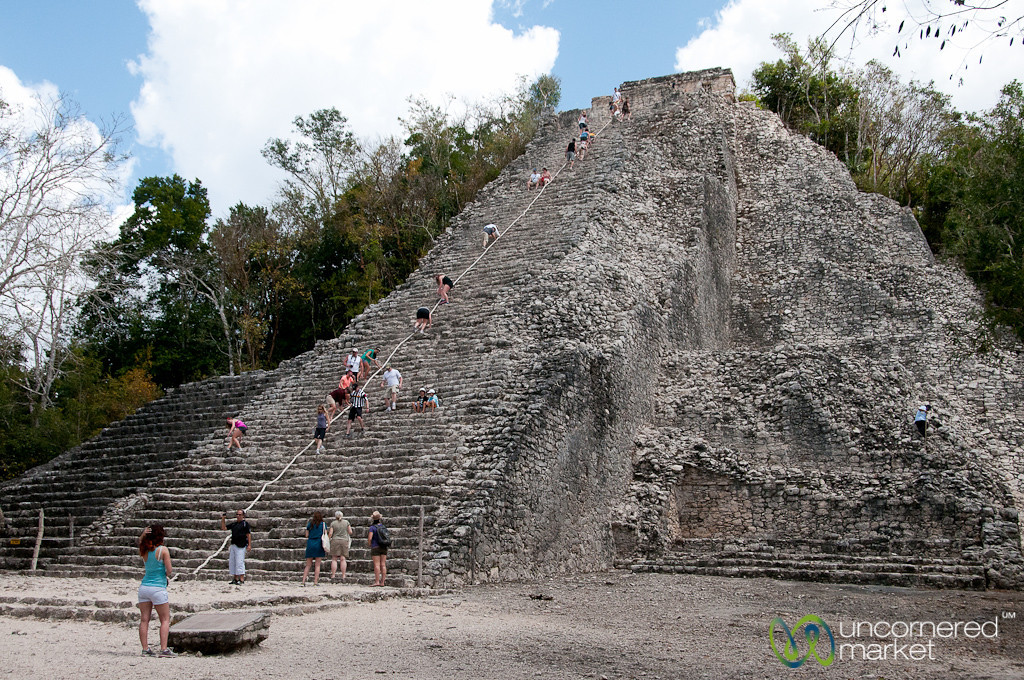 Climbing the Mayan Pyramid at Coba - Yucatan, Mexico