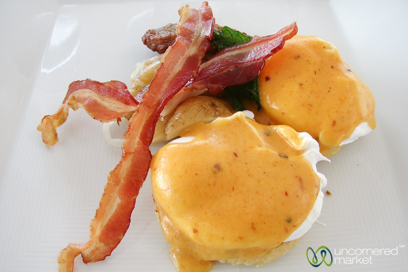 Poached Eggs with Truffle Sauce - Blue Diamond Resort, Riviera Maya