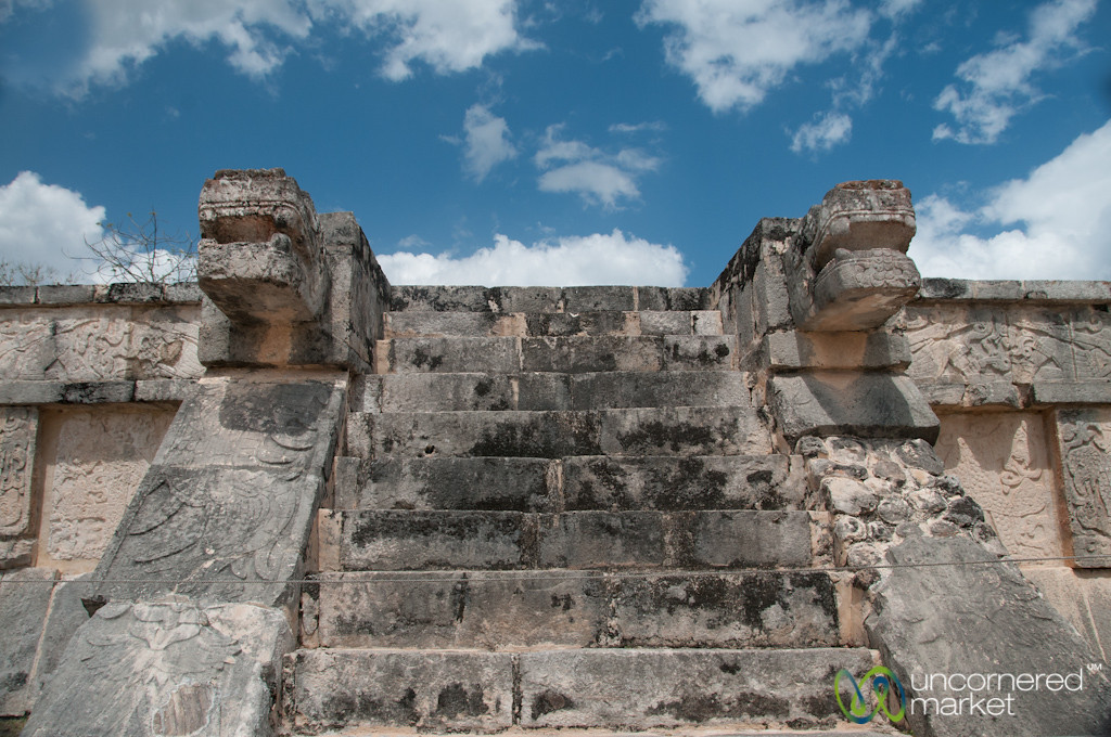 Chichen Itza Steps and Carvings - Yucatan, Mexico