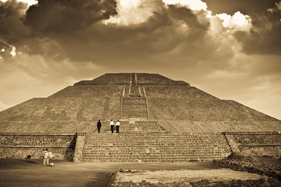 Magnificent Sun Pyramid in the mystic Teotihuacan beautified by the dramatic sunset lighting.