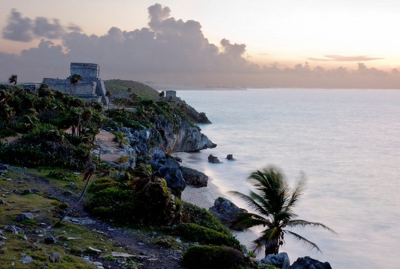 Mayan Ruins of Tulum on the Cliffs at Sunrise