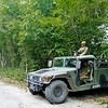 Mexican Military Road Block in the Jungle.