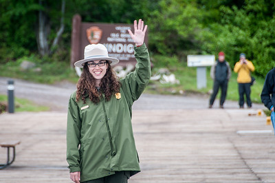 Close-up of a tour guide waving in Isle Royale National Park, Michigan