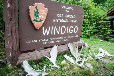 Sign welcoming guests to Isle Royale National Park, Michigan