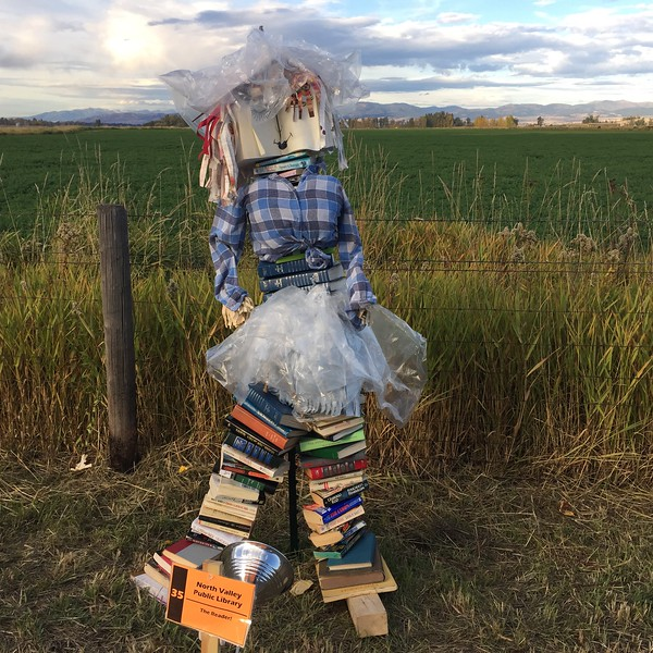 A book scarecrow at the Stevensville Scarecrow Festival