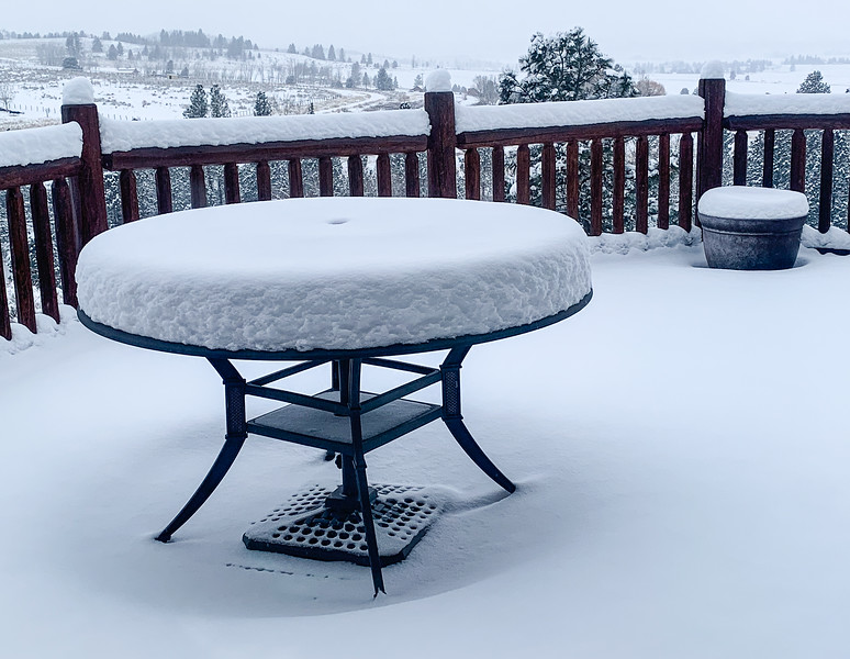 Snow on table in Bitterroot Valley of Montana.