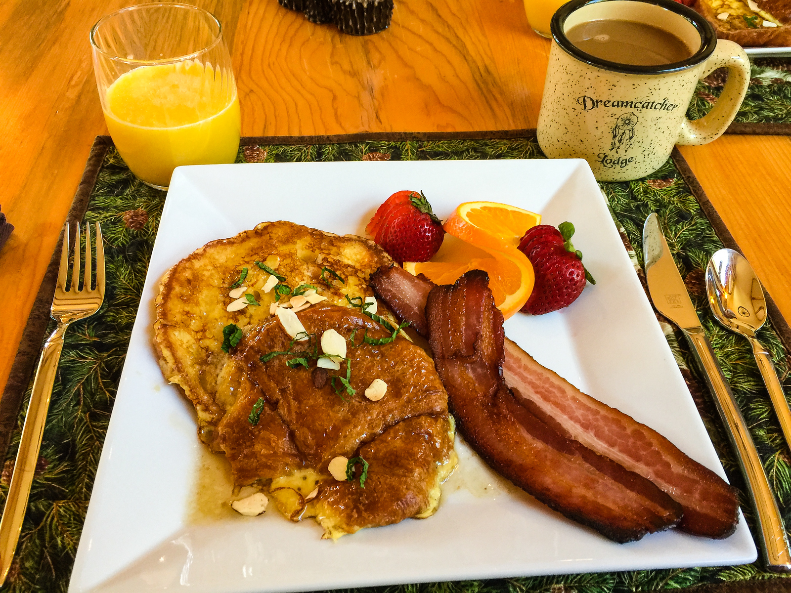 Almond croissant French toast is one of the breakfast offerings at Dreamcatcher Lodge in Kalispell, Montana.