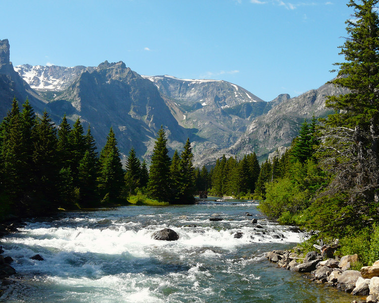 A white-water creek flows through the mountains in Montana's Absaroka-Beartooth Wilderness.