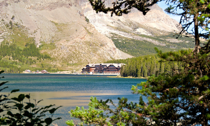 Many Glacier Lodge as seen from across the lake.