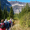 Hiking to Bullhead Lake with view of Swiftcurrent Glacier