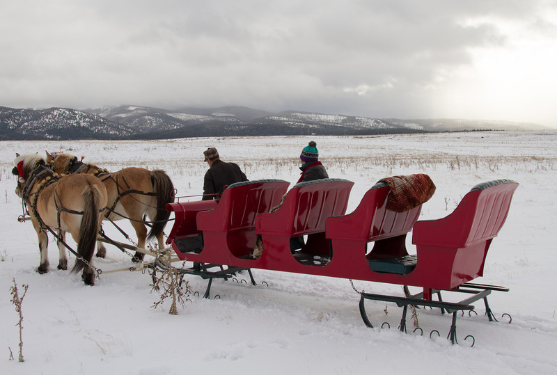 two people on a red sleigh pulled by horses