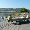 Launching boat into the Missouri River