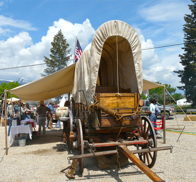 covered wagon on display