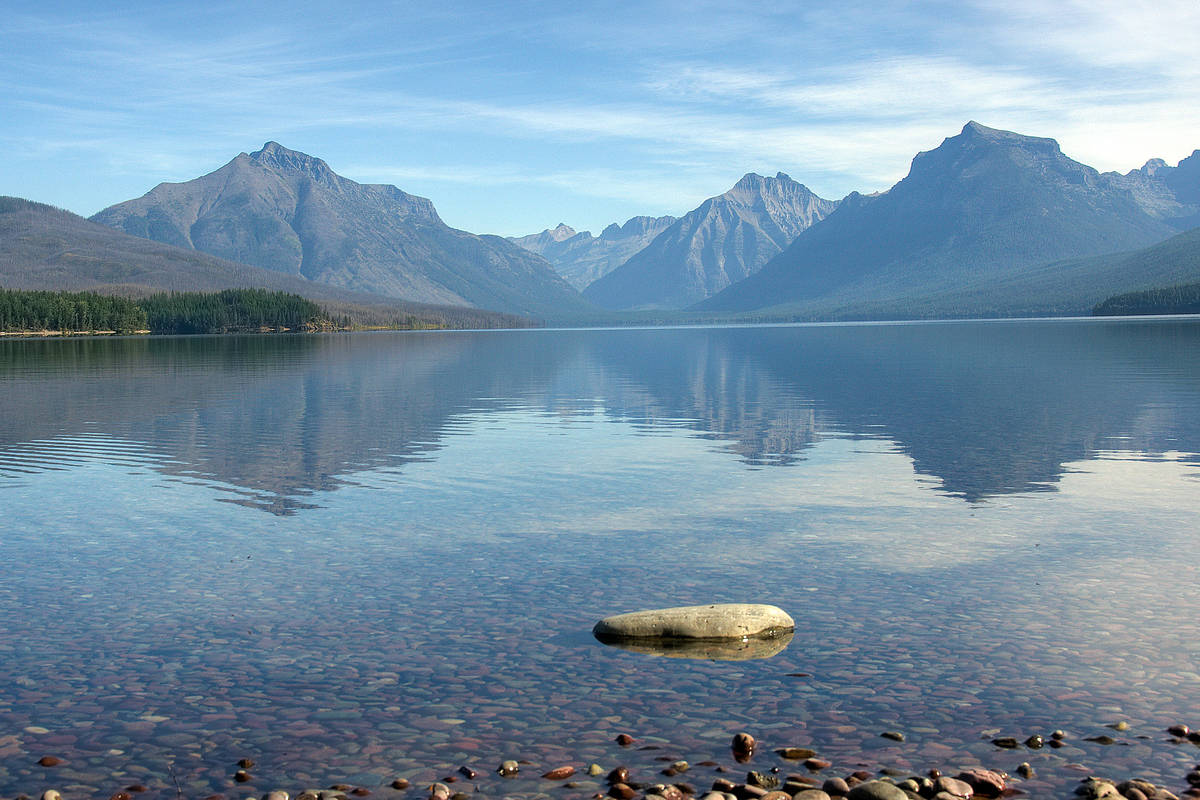 Reflections on Lake McDonald in Glacier National Park