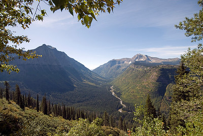 St. Mary's River in the middle of valley in Glacier National Park, Montana