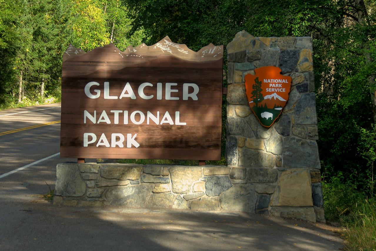 Sign outside Glacier National Park in Montana