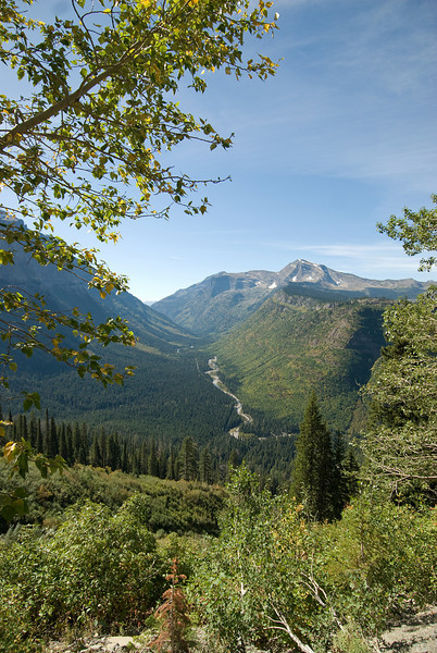 St.Mary's River in the middle of valley in Glacier National Park, Montana