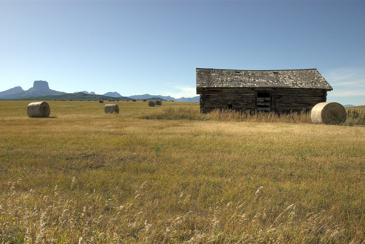 Solitary shed in an open landscape in Glacier National Park, Montana