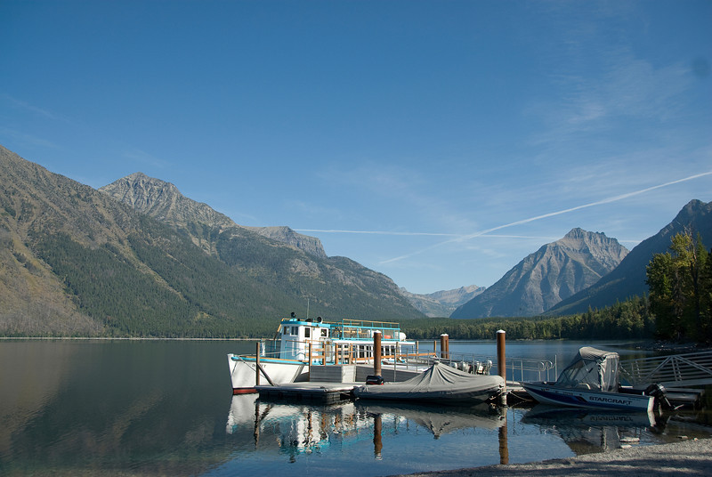 Tourist boat in Bowman Lake in Glacier National Park, Montana