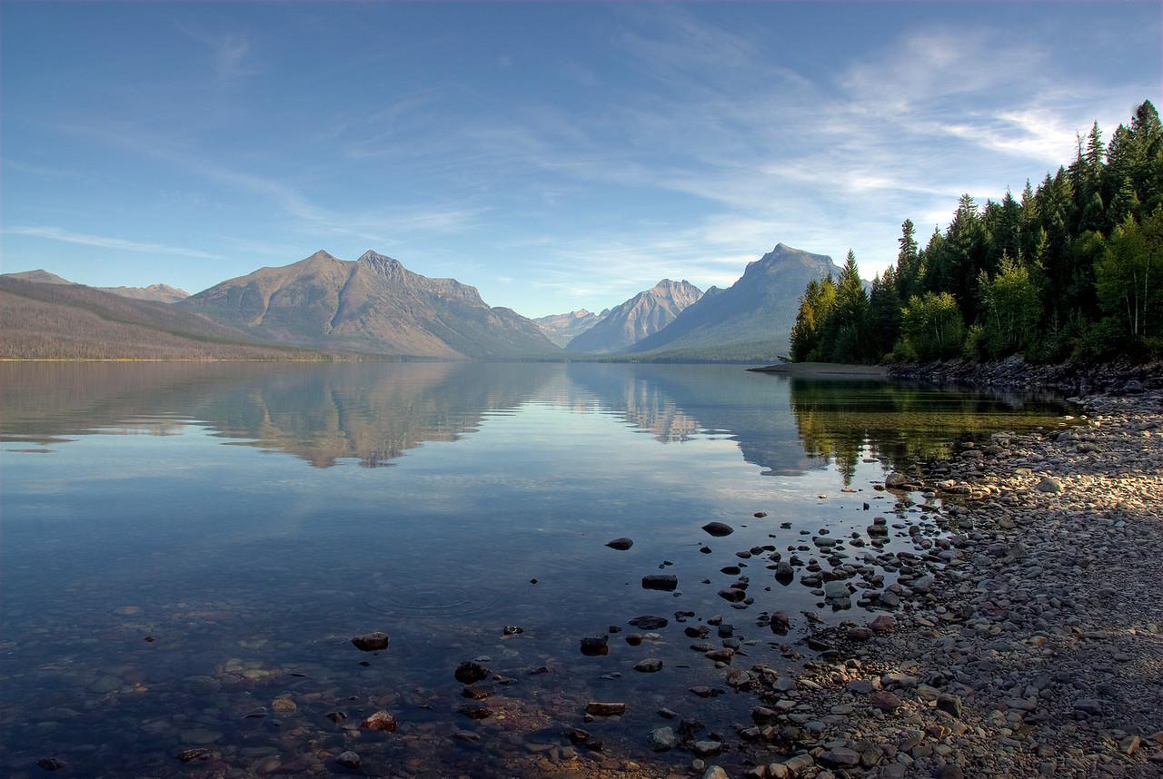 Bowman Lake from the shore at Glacier National Park, Montana