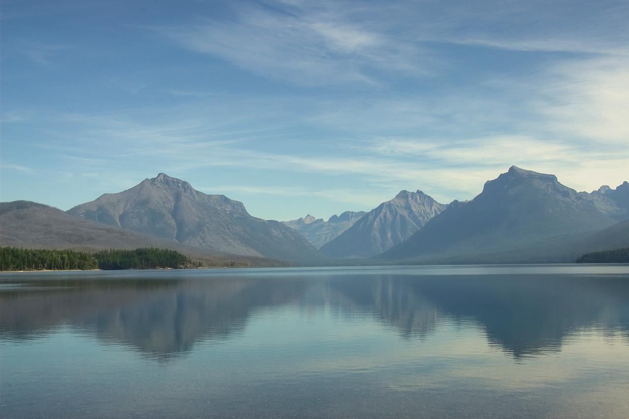 Panorama of Bowman Lake in Glacier National Park, Montana