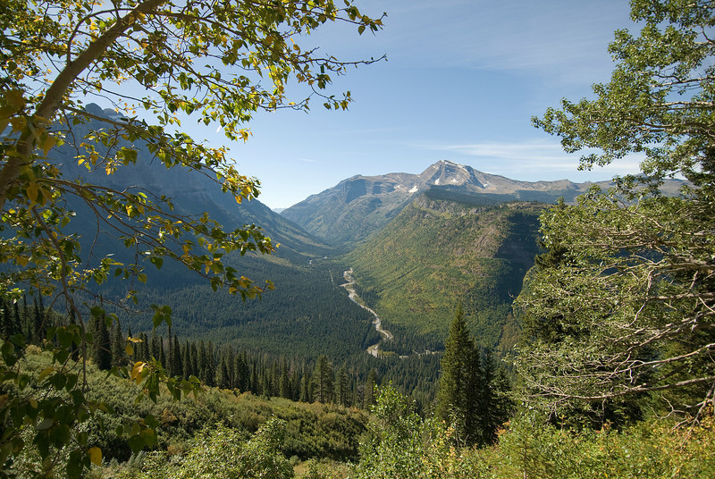 St. Mary's River running through valleys in Glacier National Park, Montana