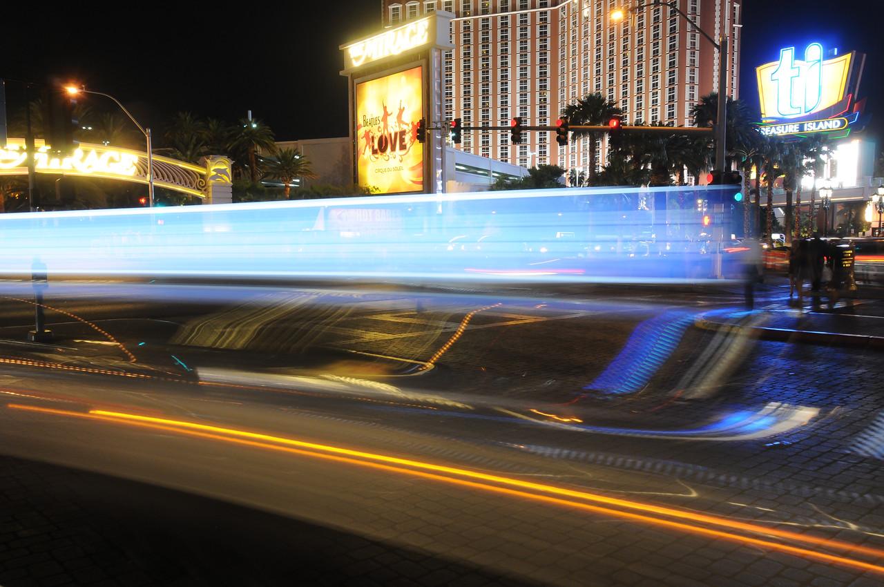 Street scene outside The Mirage Hotel at night - Las Vegas, Nevada