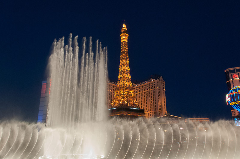 Dancing fountain in front of Eiffel Tower at Paris Las Vegas Hotel & Casino