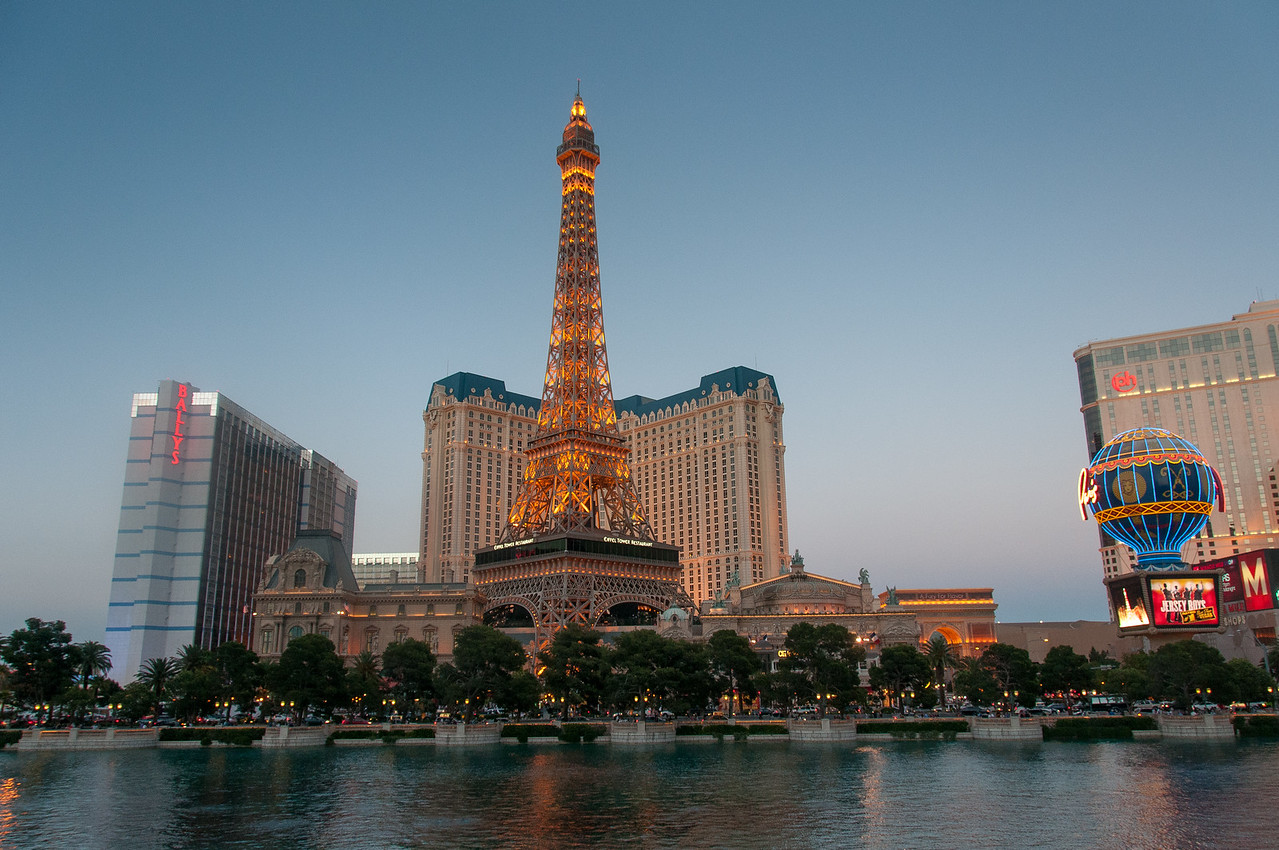 Panorama of Paris Las Vegas Hotel & Casino and Planet Hollywood