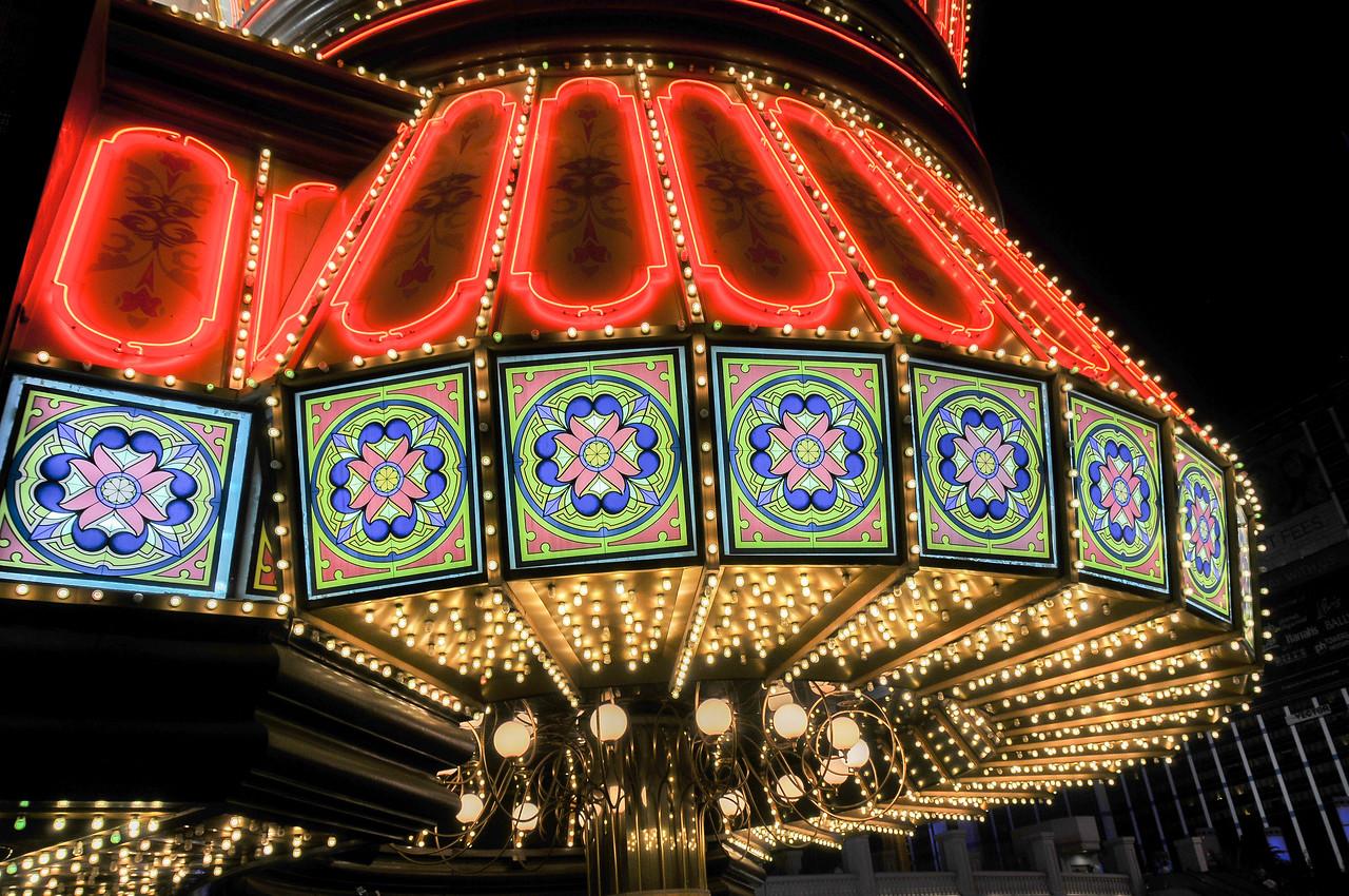 Bright lights outside a casino in Las Vegas, Nevada