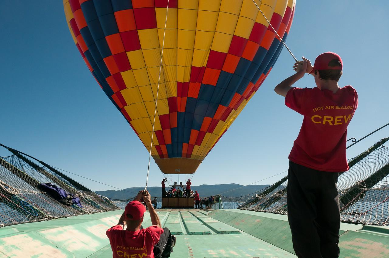 Hot air balloon launching over Lake Tahoe, Nevada