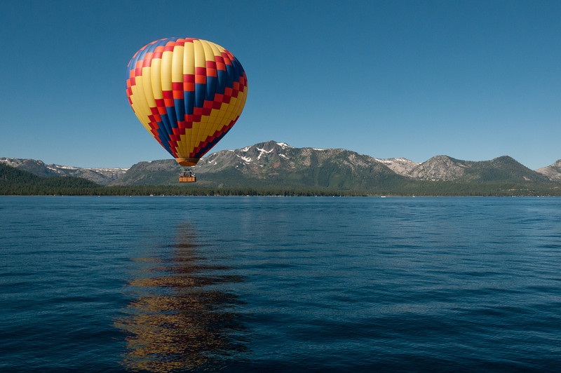 Hot air balloon over Lake Tahoe, Nevada