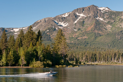 Speedboat cruising Lake Tahoe in Nevada