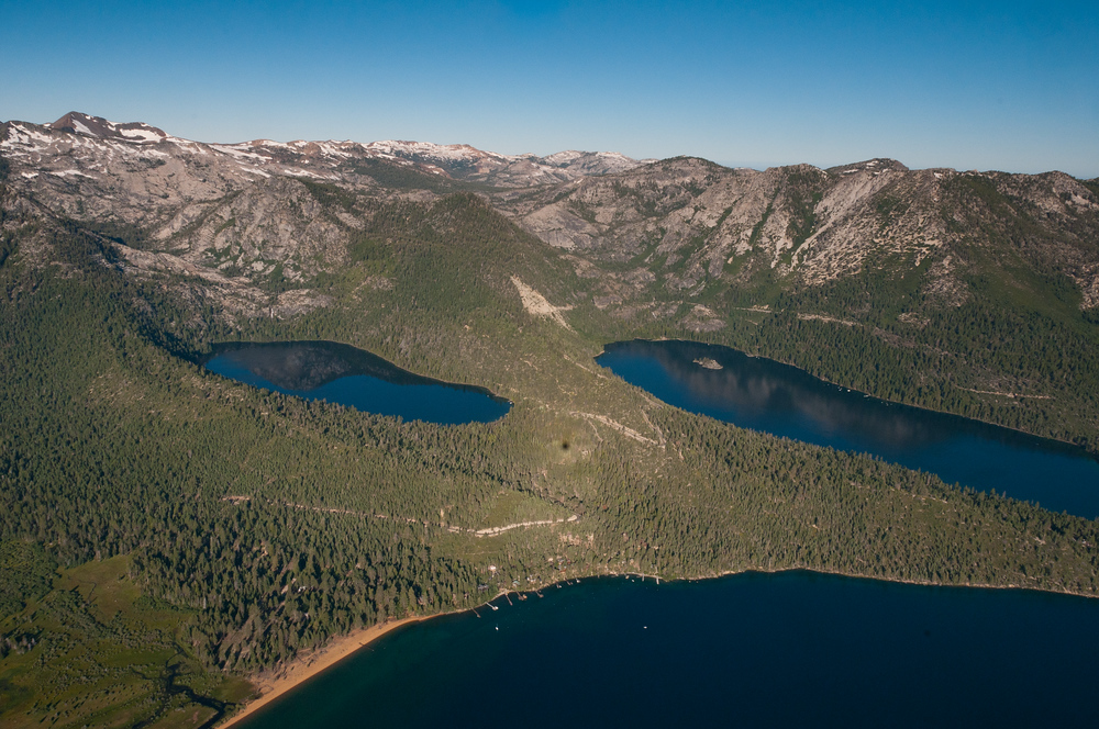 View from a hot air balloon over Lake Tahoe, Nevada