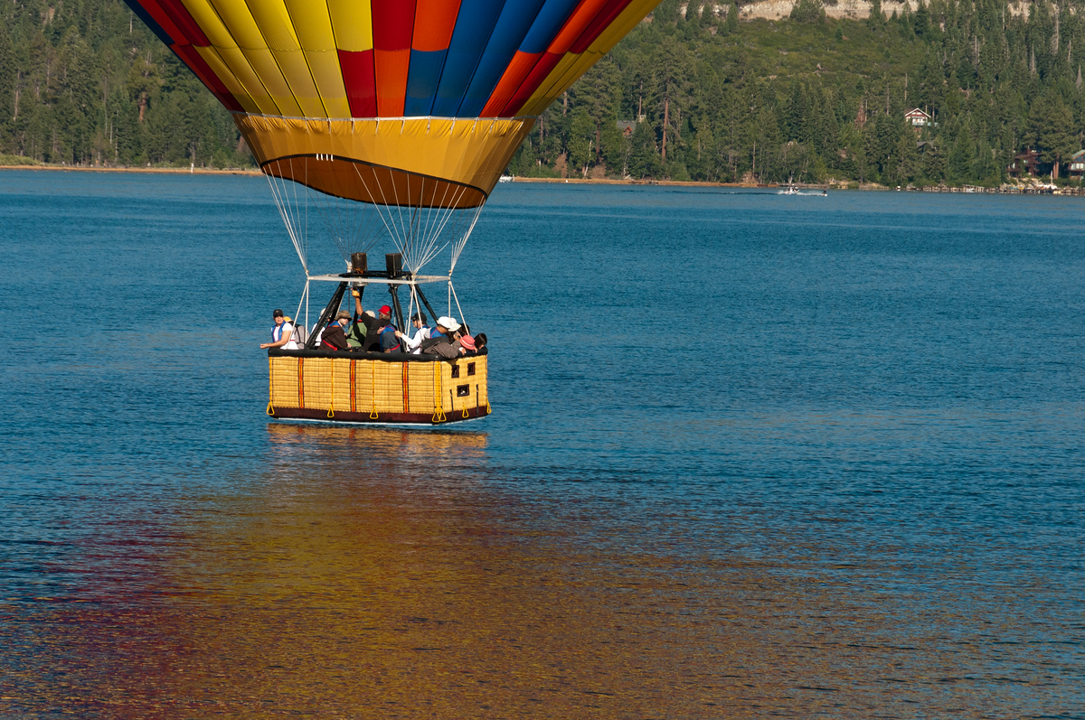 Hot Air Balloon Water Touchdown on Lake Tahoe, Nevada