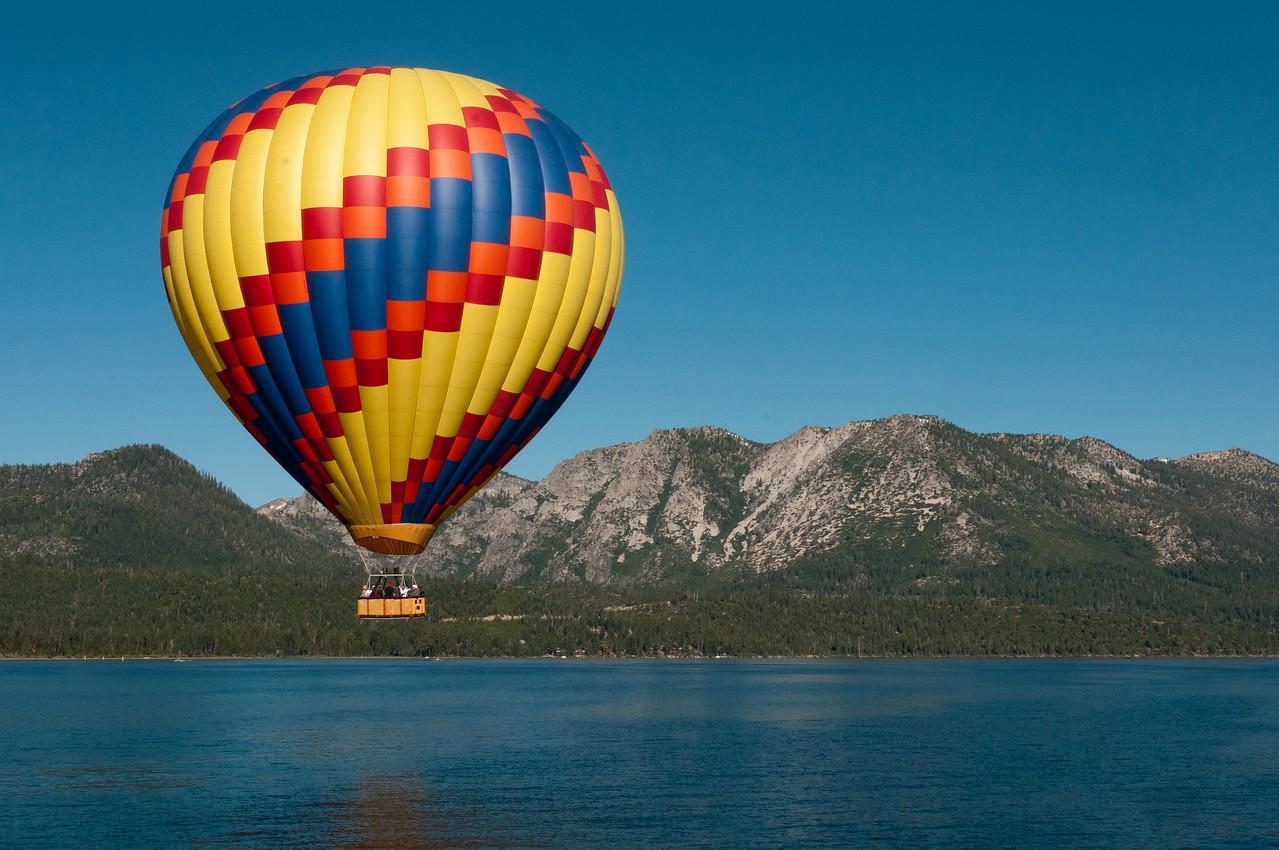 Hot air balloon with Sierra Nevada Mountains in Lake Tahoe, Nevada