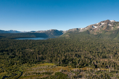 Hot air balloon over Lake Tahoe and Sierra Nevada Mountains in Nevada