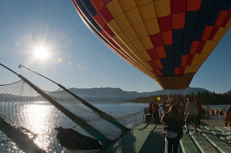 Hot air balloon about to launch in Lake Tahoe, Nevada