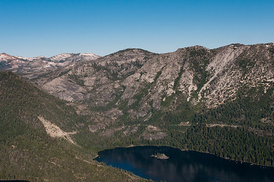 View of the Sierra Nevada Mountains from hot air balloon ride over Lake Tahoe