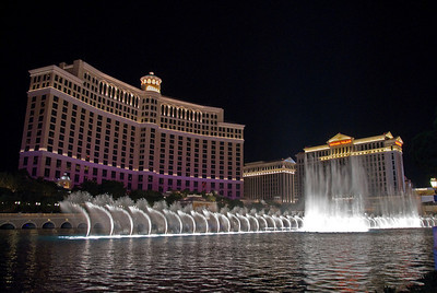 Fountains of Bellagio with a view of Bellagio Resort and Caesars Palace - Las Vegas