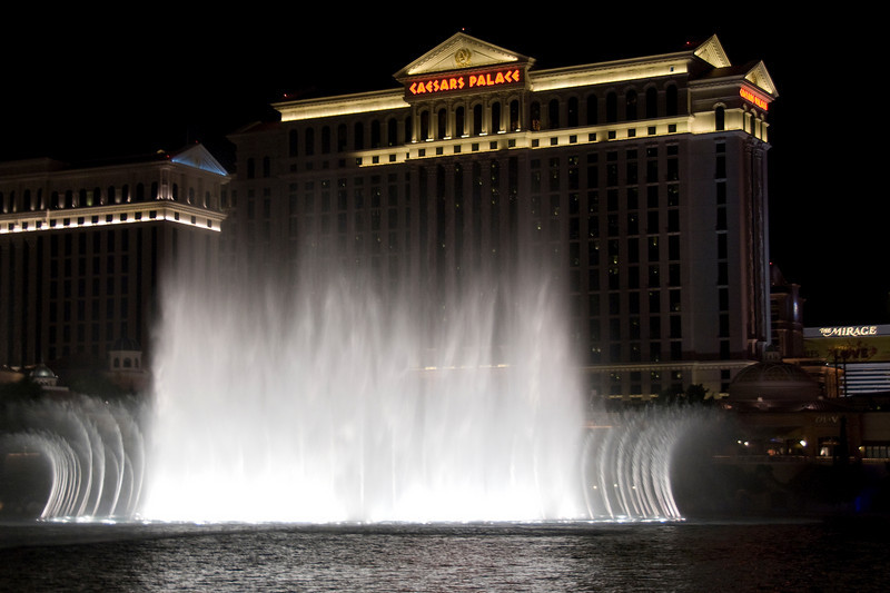 Fountains of Bellagio and Caesars Palace in Las Vegas, Nevada