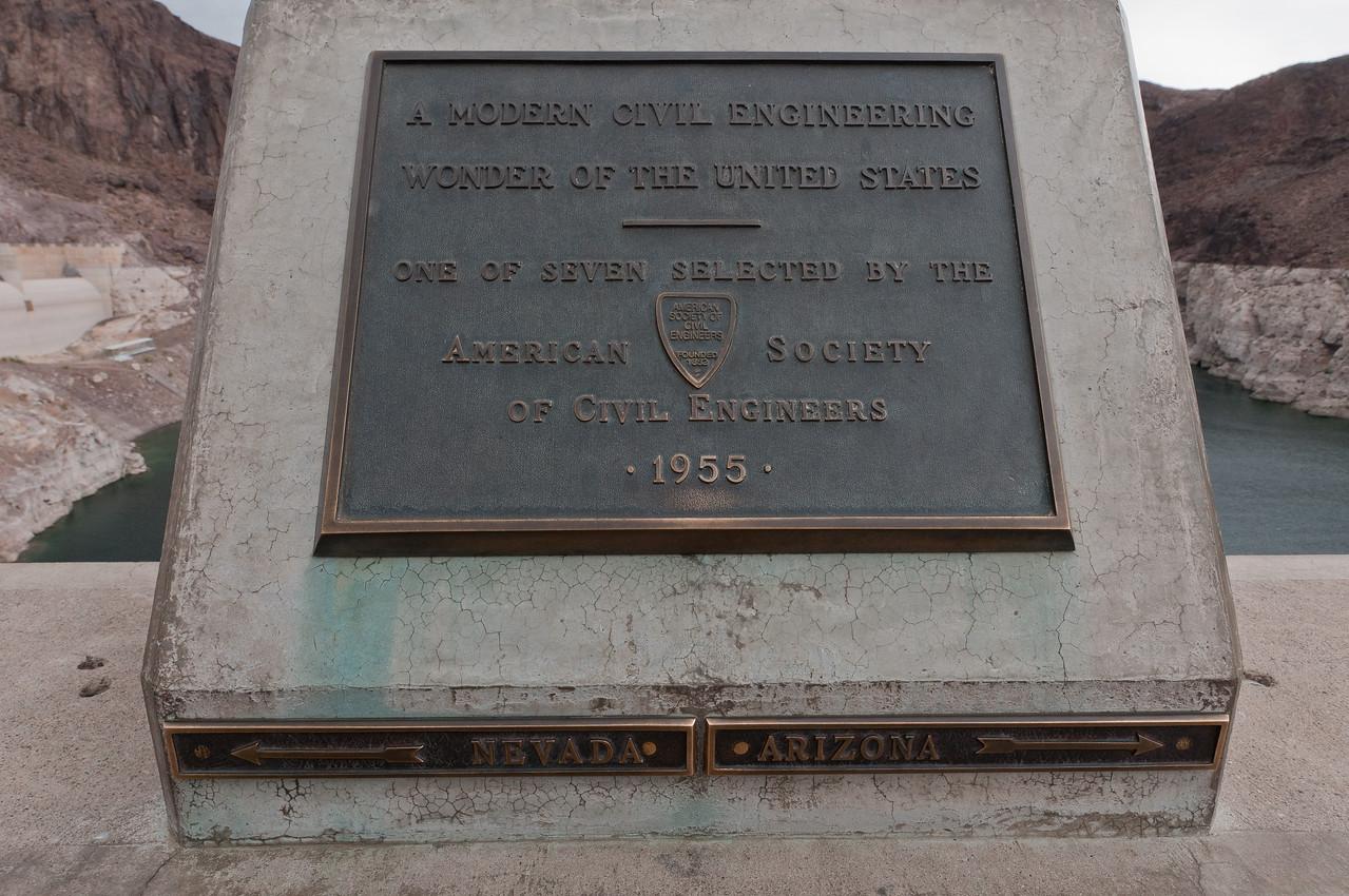 American Society of Civil Engineers plaque at Hoover Dam in Las Vegas